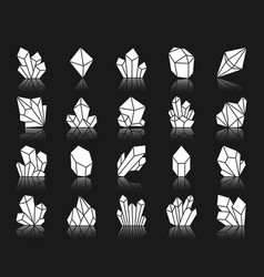 Crystal white silhouette icons set vector