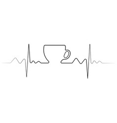 cup of coffee one line vector image