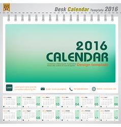 Desk calendar 2016 modern green concept vector