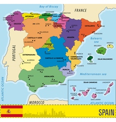 Detailed map of Spain with all regions and with ai vector