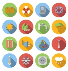 Ecology flat icons set vector