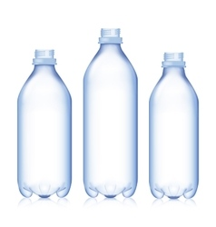 Empty Bottle Set Realistic Blank Plastic Blue vector image
