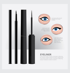 eyeliner packaging with types of eye makeup vector image