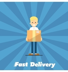 Fast delivery banner Postman with cardboard box vector