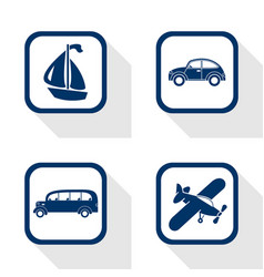 flat design icons travel set - car bus boat vector image