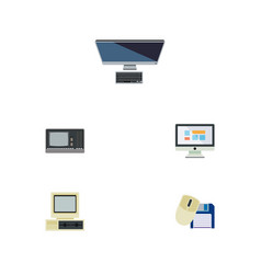 Flat icon computer set of display pc computer vector