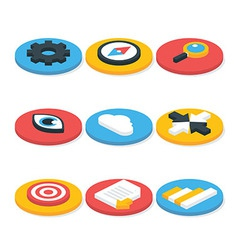 Flat Website Isometric Icons Set Circular Shaped vector image