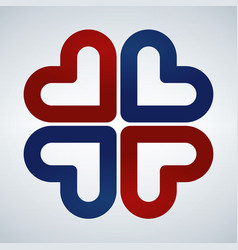 four hearts social symbol red and blue heart vector image