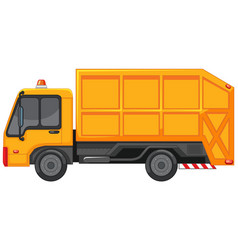 Garbage truck in yellow color vector