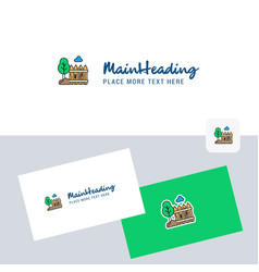 garden logotype with business card template vector image