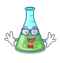 Geek science beaker character cartoon vector
