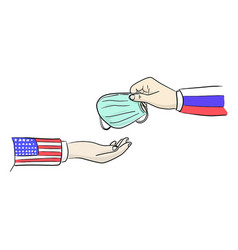 Hand with russia flag give surgical mask to man vector