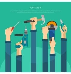 Hands with tools vector