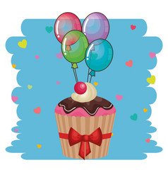 Happy birthday card with cupcake and balloons vector
