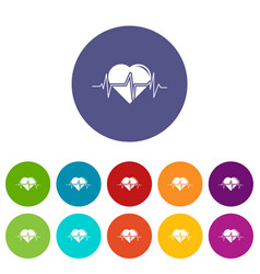 heart pulse icons set color vector image