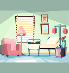 hospital room medical empty interior with couch vector image