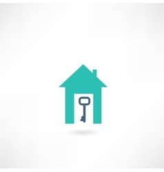 house with a key icon vector image