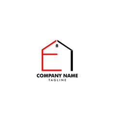 initial letter e house real estate logo design vector image