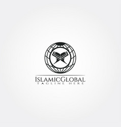 Islamic logo templateglobe and quran icon vector
