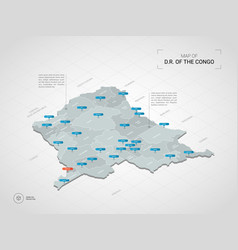 Isometric democratic republic of the congo map vector