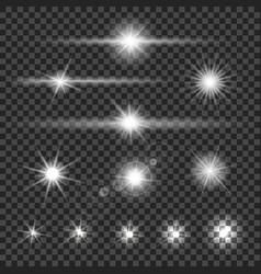 light flare glowing flashlight effect set vector image