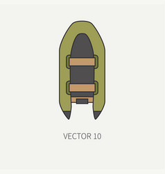 line flat color fisher and camping icon vector image