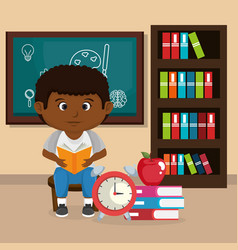 Little afro schoolboy with chalkboard vector