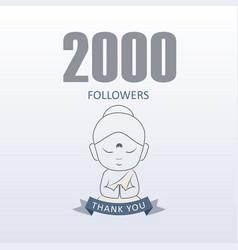 Little monk showing gratitude for 2000 followers vector
