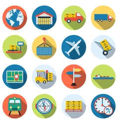 Logistic and transportation icons vector image