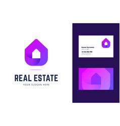 Logo and business card template for real estate vector