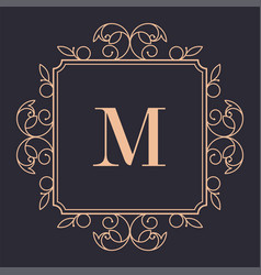 luxury brand vintage logotype with flora and lines vector image