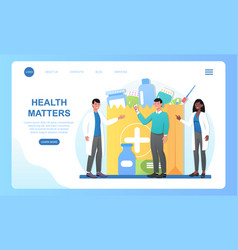 Male character standing with pharmacists vector