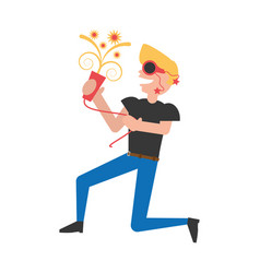 man celebrating cartoon vector image