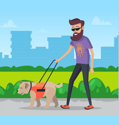 man walking with dog in city park vector image