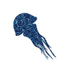 Medusa aquatic spiral pattern color silhouette vector