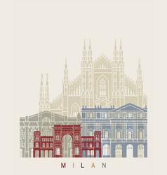 Milan v2 skyline poster vector