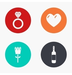 modern love colorful icons set vector image