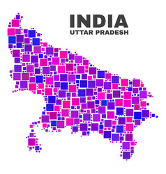 mosaic uttar pradesh state map of square items vector image