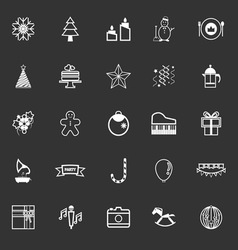 New year and christmas line icons on gray vector