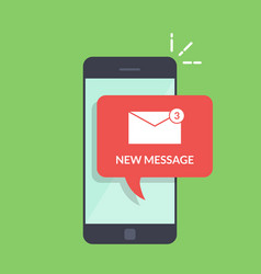 Notification of a new email on your mobile phone vector