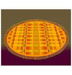 Orange circular bathroom mat vector
