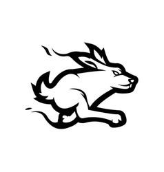 Rabbit mascot logo black and white version vector