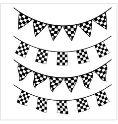 racing checkered flag banner vector image