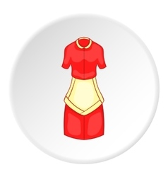 Red housewife dress with apron icon cartoon style vector image