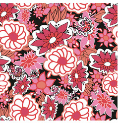 Redpink and white doodle ditsy seamless pattern vector