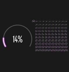 set circular sector percentage diagrams from 0 vector image