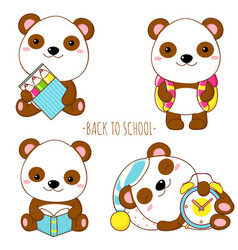 set education icons in kawaii style vector image