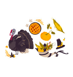 set of flat thanksgiving symbols isolated vector image