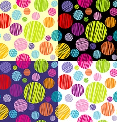 Set of four seamless pattersns with round shapes vector image