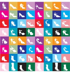 Shoe silhouettes background vector